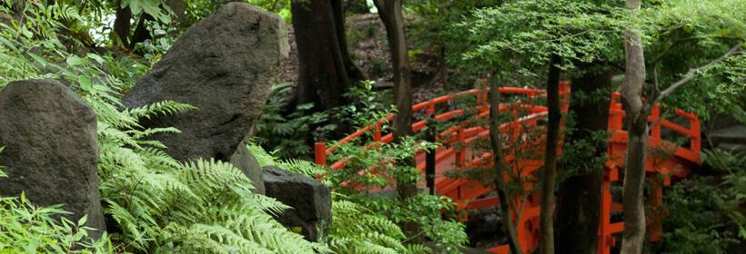 Vermillion bridge in the garden.