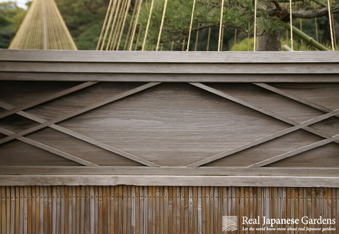 Details of a bamboo fence in the Hamarikyu Garden in Tokyo.