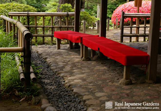 A place to rest in the teahouse of Rikugien garden in Tokyo.