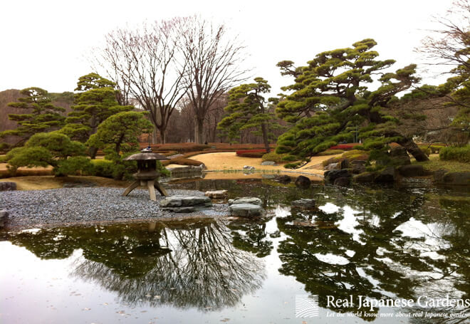 Winter scene at the pond of the Tokyo Imperial Palace.