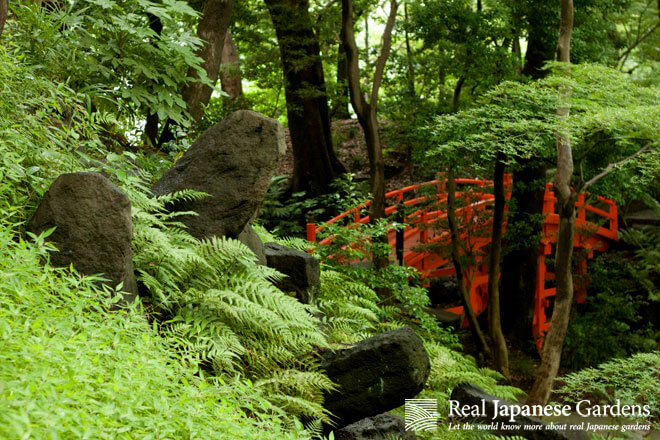 The vermillion red bridge of Koishikawa Korakuen Garden in Tokyo.