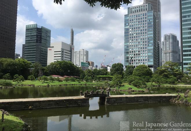 The dam of the West Lake in Kyu Shibarikyu garden in Tokyo.