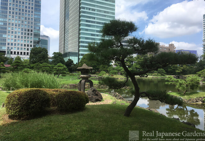 The unique three-legged stone lantern of Kyu-Shibarikyu Garden in Tokyo.